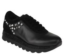 Sneaker, Leder, Strass, Nieten, Plateau