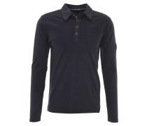 Langarmshirt, Polo-Stil, grobe Nähte, Blau