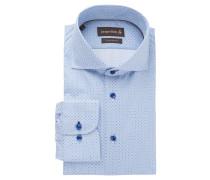 Businesshemd, Custom Fit, Haifischkragen, gemustert, Blau