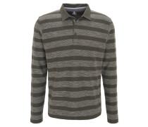 Poloshirt, Langarm, Streifen, Baumwolle, Oliv