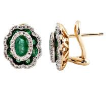Ohrclip, Smaragd, mit Diamanten, Gold 585
