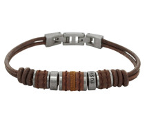 Herren-Armband Leder braun mit Edelstahl JF00900797