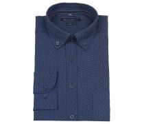 Freizeithemd, Modern Fit, geometrisches Muster, Blau