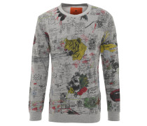 Sweatshirt, Allover-Print, Bündchen, Baumwoll-Mix, Grau