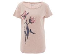 """T-Shirt """"Bettie"""", meliert, Blumen-Print, Seitenschlitze, Rosa"""