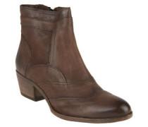 Ankle Boots, Leder, Reißverschluss, Blockabsatz