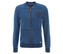 Jacke, College-Stil, Jeans-Optik, Stickerei, Blau