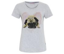 T-Shirt, Print, Strass, tailliert, Grau