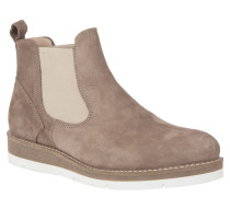 Chelsea Boots, Leder, Plateau, Elasthan, Beige