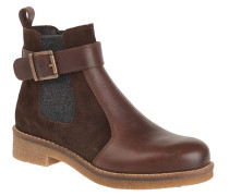 Chelsea Boots, Leder, Textil, Schnalle, Braun