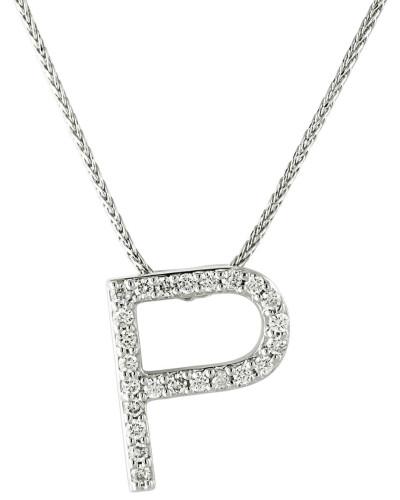 """Kette mit Anhänger """"P"""", 375 Weißgold mit Diamanten, zus. ca. 0"""