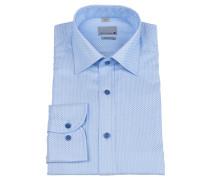 Businesshemd, geometrisches Muster, bügelfrei, Blau