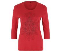 Shirt, 3/4-Ärmel, Ornament-Print, Nieten, Baumwolle, Rot