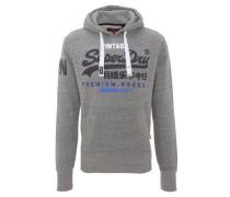 Sweatshirt, Kapuze, Logo-Print, breiter Bund, Grau