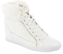 Sneaker, Keilabsatz, Leder, Marken-Print, Weiß