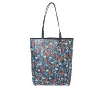 Shopper, Blumen-Print, Leder-Optik, Blau