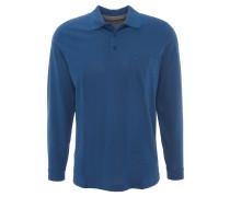 Polo-Shirt, Langarm, Brusttasche, feines Muster, Blau