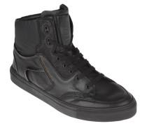 Sneaker, Schlangen-Optik, unifarben, Schwarz