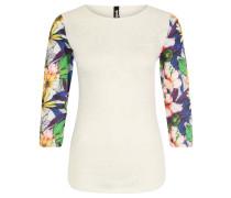 Trainingsshirt, florales Design, semitransparent, für Damen, Weiß