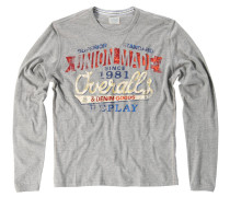 Sweatshirt, melierte Optik, Rippstrickbündchen, Grau