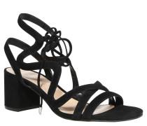 Sandaletten, Schnürung, Blockabsatz, Schwarz