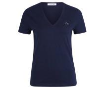 T-Shirt, Baumwolle, V-Ausschnitt, Emblem, für Damen, Blau