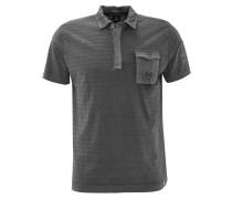 Poloshirt, Streifen-Struktur, Brusttasche, Grau