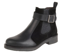 Chelsea Boots, Leder, Textil, Schnalle, Schwarz