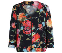 Blouson, Blazer-Stil, Krepp, floraler Print, Gummibund