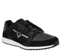 Sneaker, Materialmix, Profilsohle, Schwarz