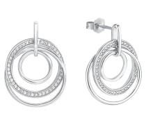 Damen-Ohrringe mit Zirkonia rhodiniert