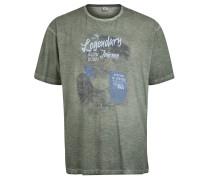 T-Shirt, Print, Melange, Große Größen, Grün