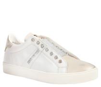 Sneaker, Silberglanz, Leder, Bicolor