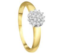 Ring, Diamant, Bicolor,  375, zus. 0.15 Ct.