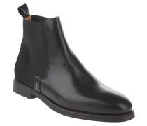 Chelsea Boots, Rindsleder, Fell-Besatz, Schwarz
