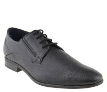 Schnürschuhe, Leder, strukturiert, Derby-Stil, Schwarz