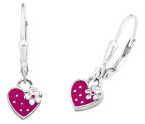 Ohrhänger Herz mit pink Silber 925