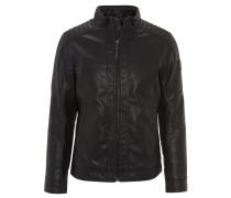 Jacke, Leder-Optik, Biker-Stil, Metall-Emblem, Schwarz