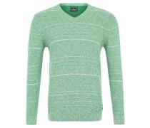 Pullover, V-Ausschnitt, Baumwolle, Melange-Optik