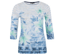 Shirt, 3/4 Ärmel, Baumwolle, Allover-Print, Schmucksteine, Blau