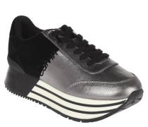 Sneaker, Materialmix, Metallic, Plateau