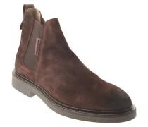 Chelsea Boots, Veloursleder, Zugschlaufe, Blockabsatz, Braun