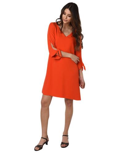 Kleid, V-Ausschnitt, 3/4-Arm, Schleifen an den Ärmeln