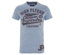 T-Shirt, Schrift-Print, meliert, Baumwollmix, Blau