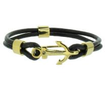 Anker Armband 107685 Edelstahl Leder Zirkonia schwarz gold