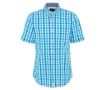 Hemd, Modern Fit, Kurzarm, kariert, Button-Down-Kragen, Blau