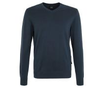 Strickpullover, V-Ausschnitt, reine Baumwolle, Blau