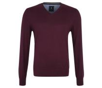 Pullover, V-Kragen, angenehmes Material, Rot