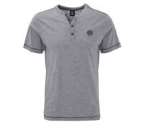T-Shirt, Henley-Kragen, meliert, Blau