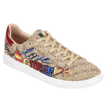 Sneaker, Patches, Logo-Print, Lack-Einsatz